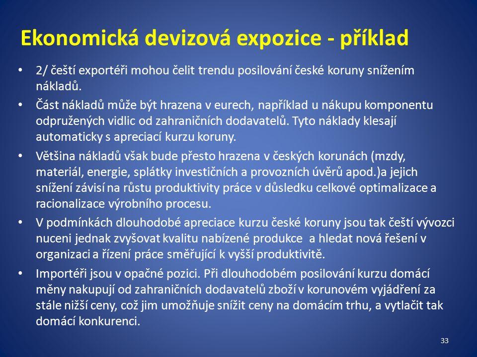 Ekonomická devizová expozice - příklad 2/ čeští exportéři mohou čelit trendu posilování české koruny snížením nákladů.