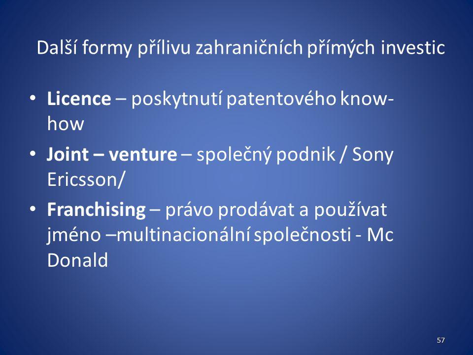 Další formy přílivu zahraničních přímých investic Licence – poskytnutí patentového know- how Joint – venture – společný podnik / Sony Ericsson/ Franchising – právo prodávat a používat jméno –multinacionální společnosti - Mc Donald 57