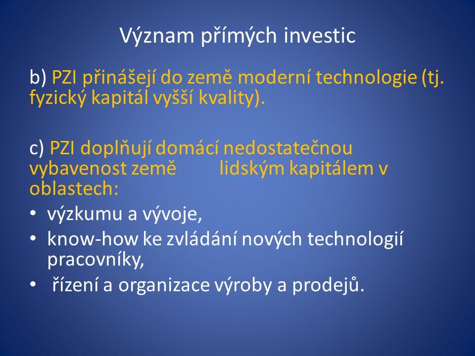 Význam přímých investic b) PZI přinášejí do země moderní technologie (tj.