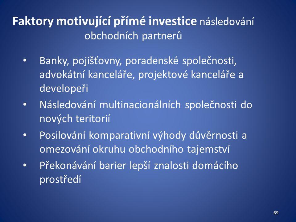Faktory motivující přímé investice následování obchodních partnerů Banky, pojišťovny, poradenské společnosti, advokátní kanceláře, projektové kanceláře a developeři Následování multinacionálních společnosti do nových teritorií Posilování komparativní výhody důvěrnosti a omezování okruhu obchodního tajemství Překonávání barier lepší znalosti domácího prostředí 69