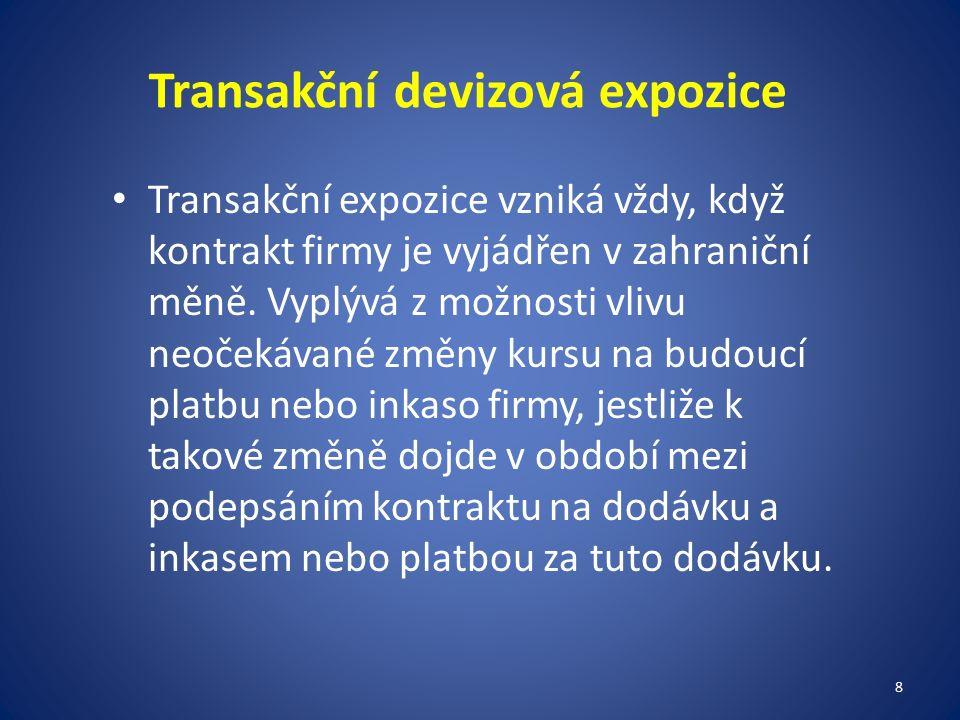 Transakční devizová expozice Transakční expozice vzniká vždy, když kontrakt firmy je vyjádřen v zahraniční měně.