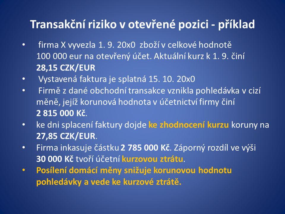 firma X vyvezla 1. 9. 20x0 zboží v celkové hodnotě 100 000 eur na otevřený účet.