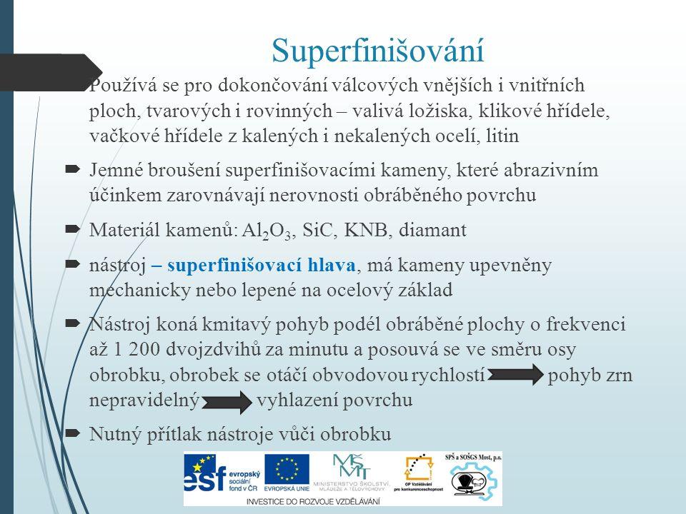 Superfinišování  Používá se pro dokončování válcových vnějších i vnitřních ploch, tvarových i rovinných – valivá ložiska, klikové hřídele, vačkové hřídele z kalených i nekalených ocelí, litin  Jemné broušení superfinišovacími kameny, které abrazivním účinkem zarovnávají nerovnosti obráběného povrchu  Materiál kamenů: Al 2 O 3, SiC, KNB, diamant  nástroj – superfinišovací hlava, má kameny upevněny mechanicky nebo lepené na ocelový základ  Nástroj koná kmitavý pohyb podél obráběné plochy o frekvenci až 1 200 dvojzdvihů za minutu a posouvá se ve směru osy obrobku, obrobek se otáčí obvodovou rychlostí pohyb zrn nepravidelný vyhlazení povrchu  Nutný přítlak nástroje vůči obrobku