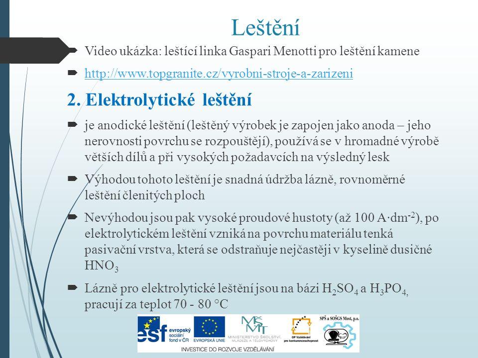 Leštění  Video ukázka: leštící linka Gaspari Menotti pro leštění kamene  http://www.topgranite.cz/vyrobni-stroje-a-zarizeni http://www.topgranite.cz/vyrobni-stroje-a-zarizeni 2.
