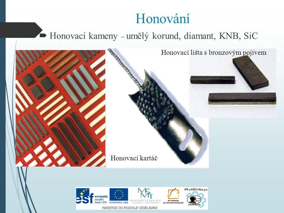 Honování  Honovací kameny – umělý korund, diamant, KNB, SiC Honovací kartáč Honovací lišta s bronzovým pojivem