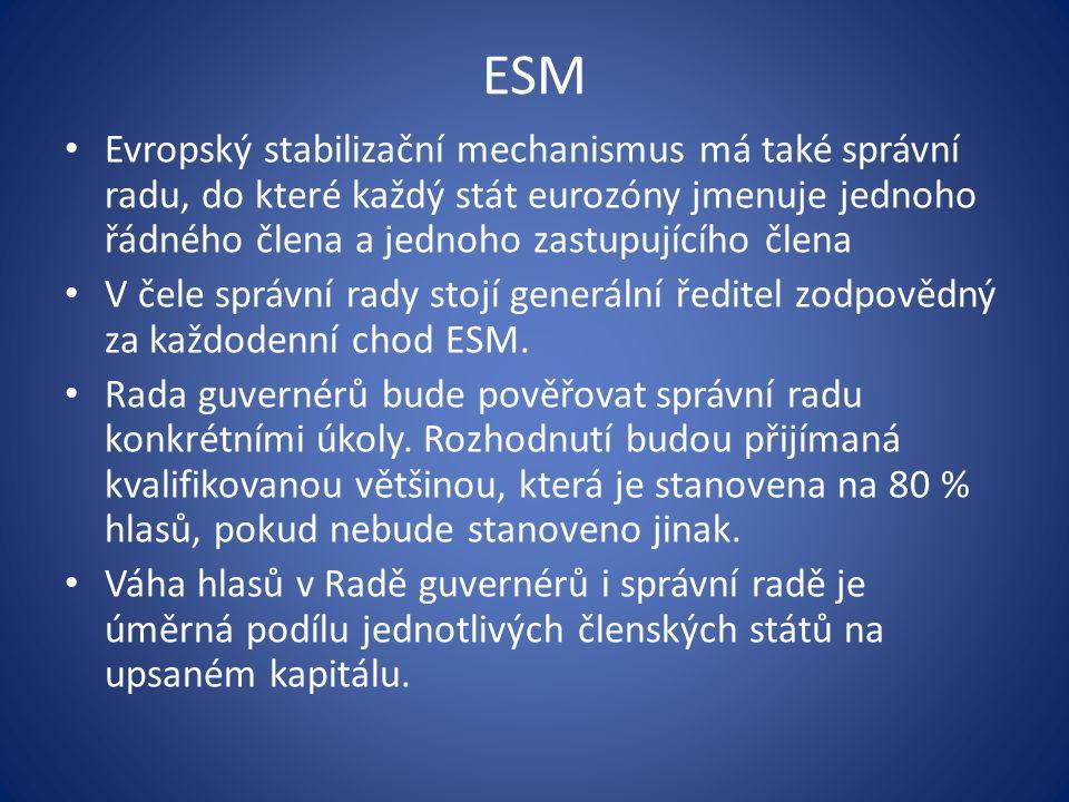 ESM Evropský stabilizační mechanismus má také správní radu, do které každý stát eurozóny jmenuje jednoho řádného člena a jednoho zastupujícího člena V čele správní rady stojí generální ředitel zodpovědný za každodenní chod ESM.