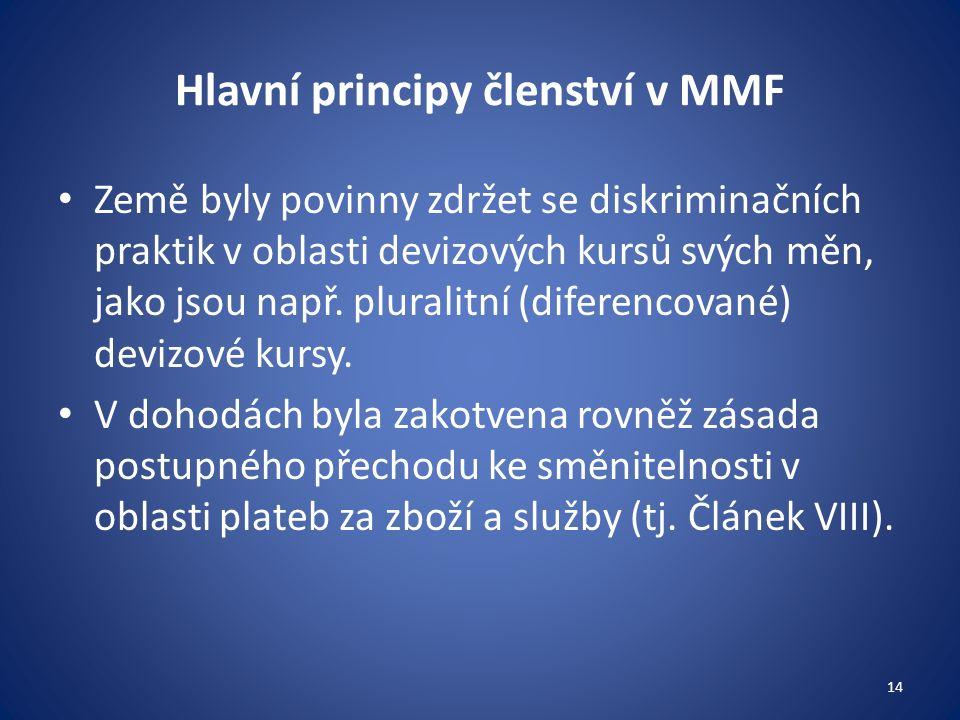 Hlavní principy členství v MMF Země byly povinny zdržet se diskriminačních praktik v oblasti devizových kursů svých měn, jako jsou např.