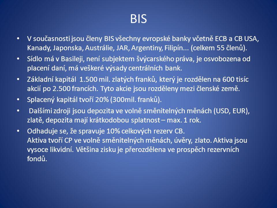 BIS V současnosti jsou členy BIS všechny evropské banky včetně ECB a CB USA, Kanady, Japonska, Austrálie, JAR, Argentiny, Filipín...