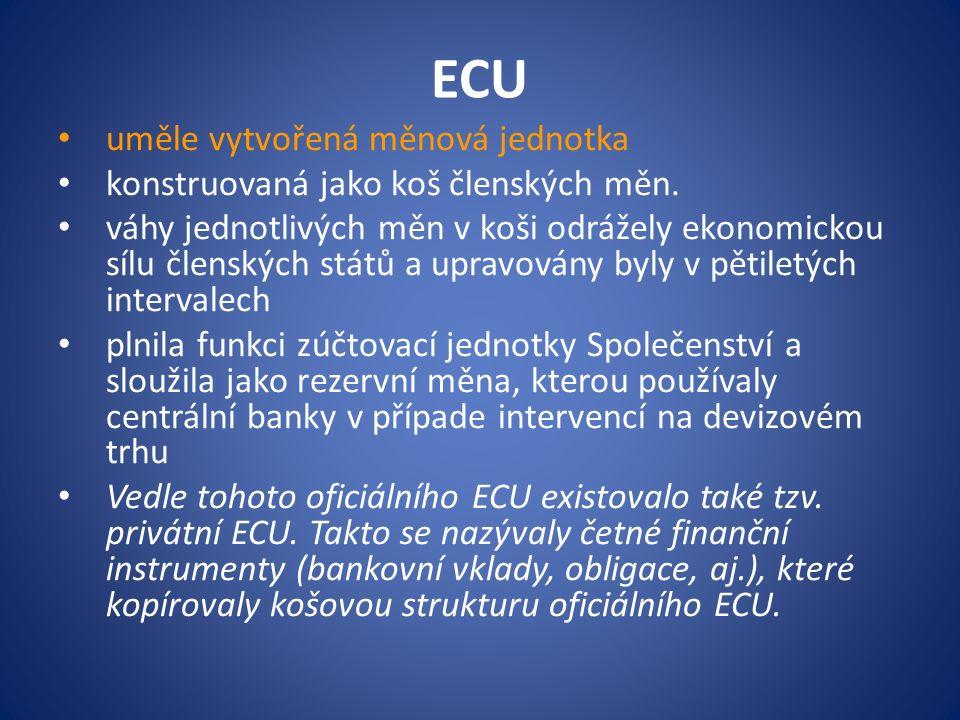 ECU uměle vytvořená měnová jednotka konstruovaná jako koš členských měn.