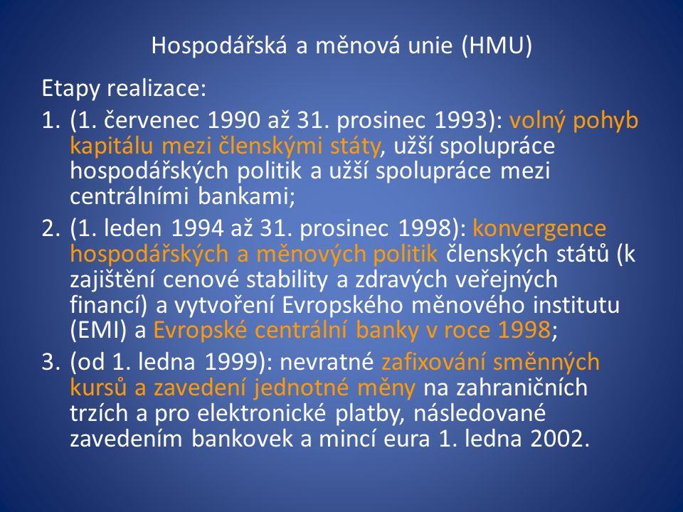 Hospodářská a měnová unie (HMU) Etapy realizace: 1.(1.