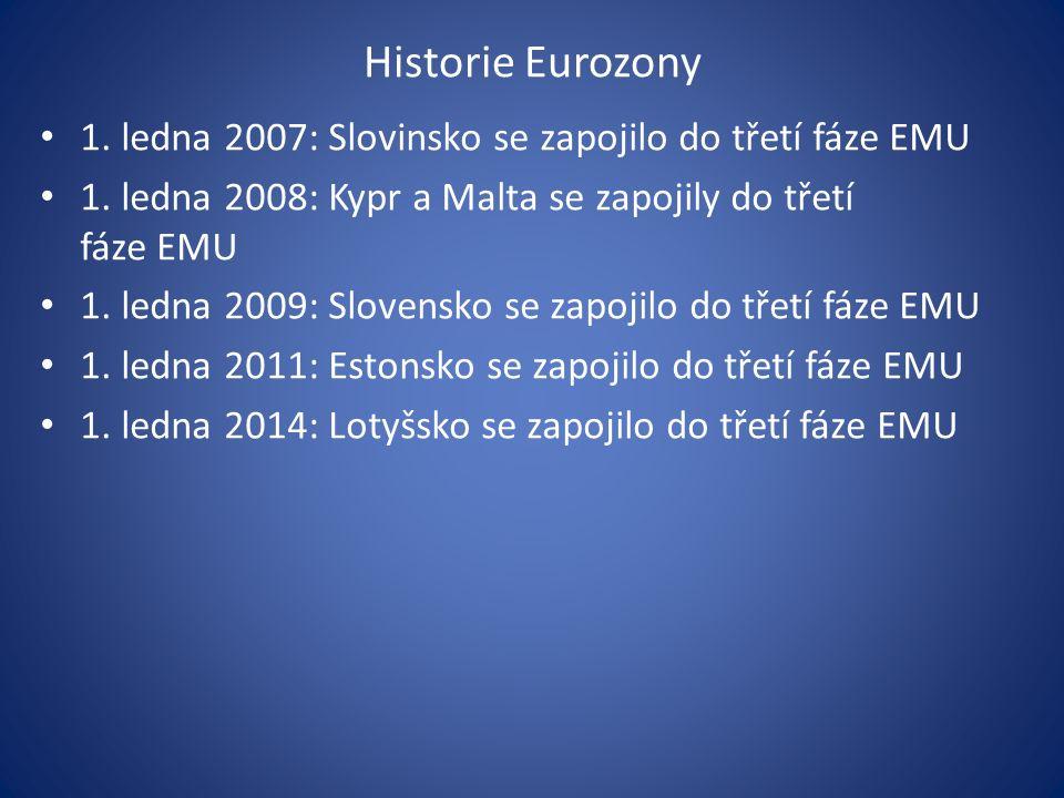 Historie Eurozony 1. ledna 2007: Slovinsko se zapojilo do třetí fáze EMU 1.