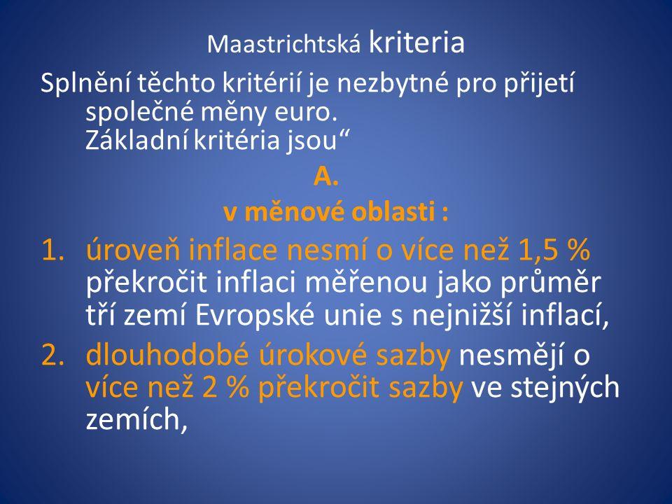 Maastrichtská kriteria Splnění těchto kritérií je nezbytné pro přijetí společné měny euro.