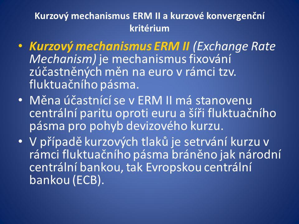 Kurzový mechanismus ERM II a kurzové konvergenční kritérium Kurzový mechanismus ERM II (Exchange Rate Mechanism) je mechanismus fixování zúčastněných měn na euro v rámci tzv.