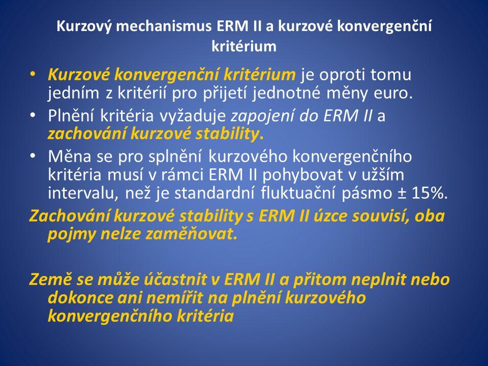 Kurzový mechanismus ERM II a kurzové konvergenční kritérium Kurzové konvergenční kritérium je oproti tomu jedním z kritérií pro přijetí jednotné měny euro.
