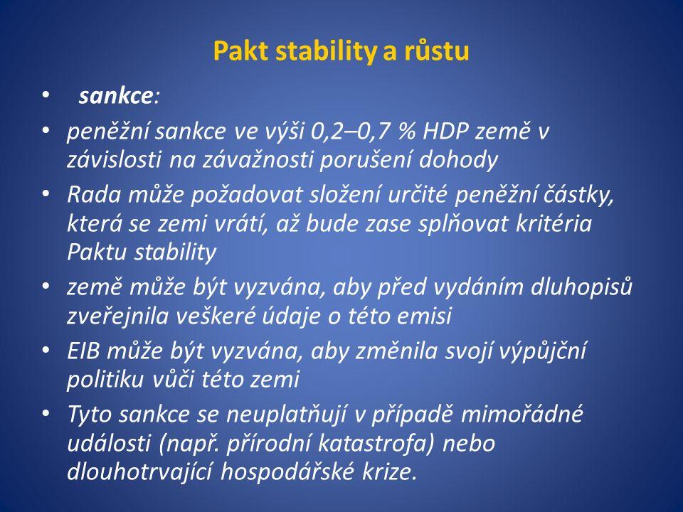 Pakt stability a růstu sankce: peněžní sankce ve výši 0,2–0,7 % HDP země v závislosti na závažnosti porušení dohody Rada může požadovat složení určité peněžní částky, která se zemi vrátí, až bude zase splňovat kritéria Paktu stability země může být vyzvána, aby před vydáním dluhopisů zveřejnila veškeré údaje o této emisi EIB může být vyzvána, aby změnila svojí výpůjční politiku vůči této zemi Tyto sankce se neuplatňují v případě mimořádné události (např.