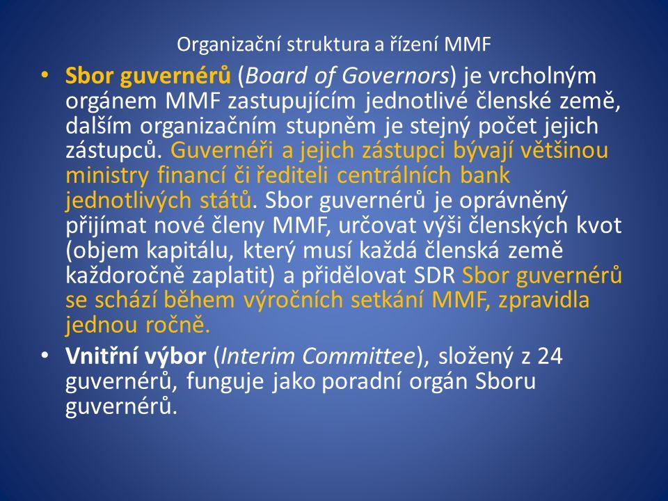 Organizační struktura a řízení MMF Sbor guvernérů (Board of Governors) je vrcholným orgánem MMF zastupujícím jednotlivé členské země, dalším organizačním stupněm je stejný počet jejich zástupců.