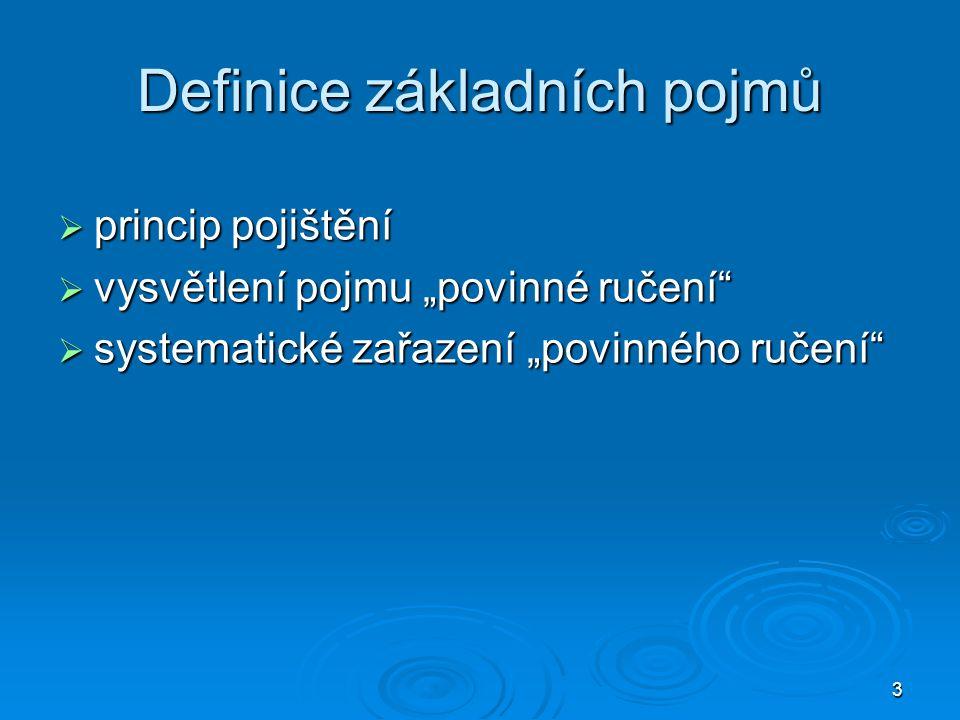 """3 Definice základních pojmů  princip pojištění  vysvětlení pojmu """"povinné ručení""""  systematické zařazení """"povinného ručení"""""""
