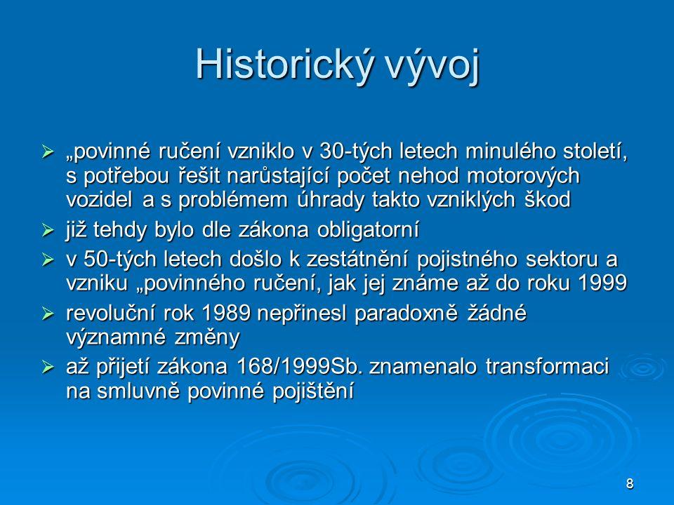 """8 Historický vývoj  """"povinné ručení vzniklo v 30-tých letech minulého století, s potřebou řešit narůstající počet nehod motorových vozidel a s problémem úhrady takto vzniklých škod  již tehdy bylo dle zákona obligatorní  v 50-tých letech došlo k zestátnění pojistného sektoru a vzniku """"povinného ručení, jak jej známe až do roku 1999  revoluční rok 1989 nepřinesl paradoxně žádné významné změny  až přijetí zákona 168/1999Sb."""