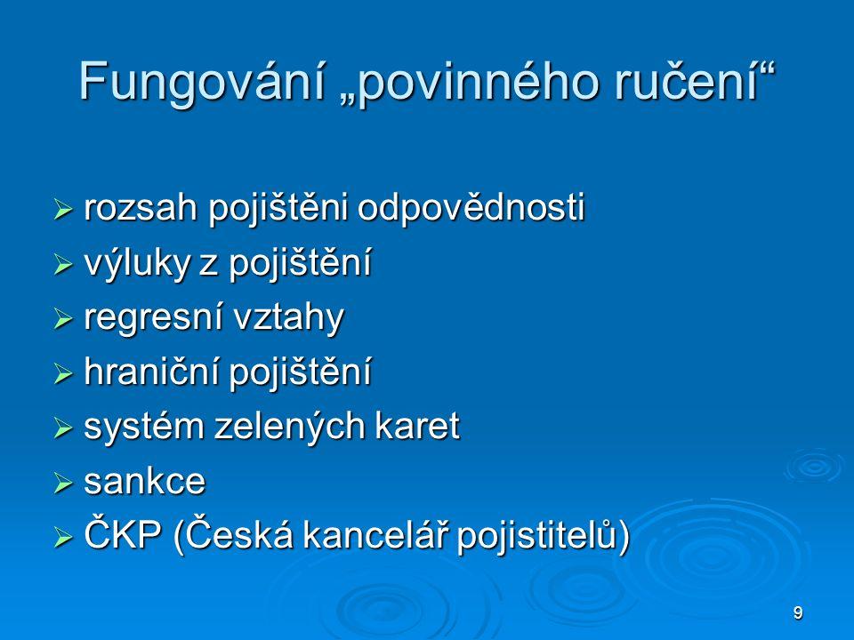 """9 Fungování """"povinného ručení  rozsah pojištěni odpovědnosti  výluky z pojištění  regresní vztahy  hraniční pojištění  systém zelených karet  sankce  ČKP (Česká kancelář pojistitelů)"""