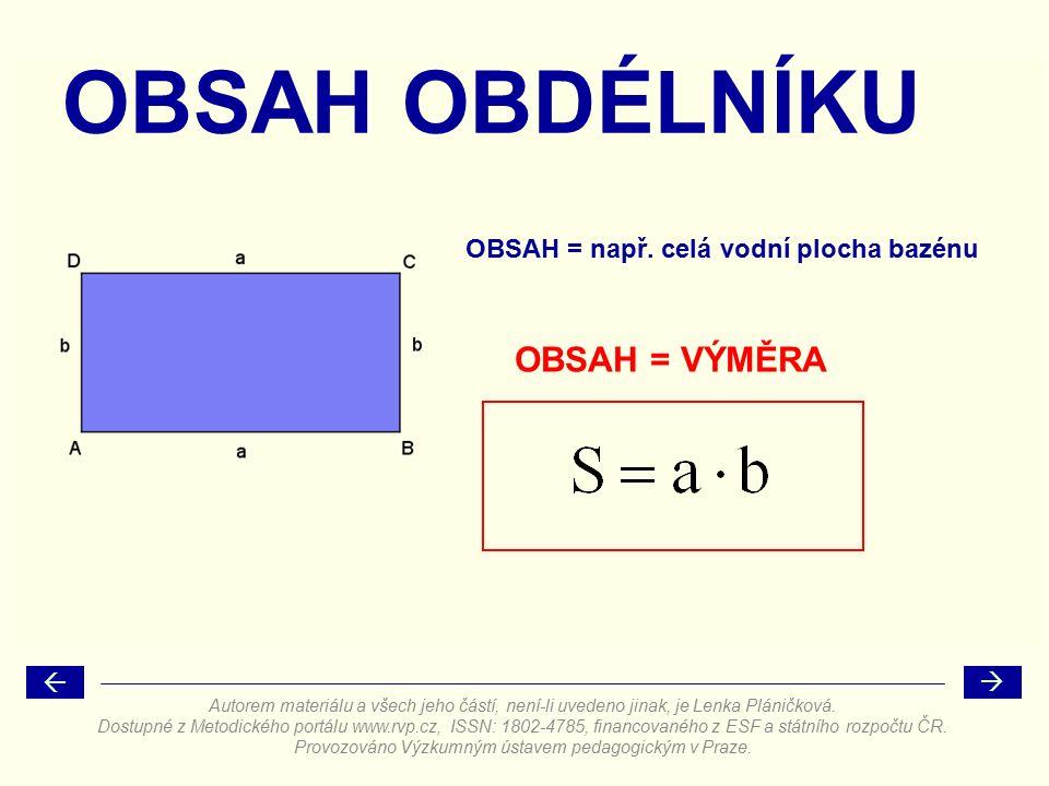 OBSAH = VÝMĚRA OBSAH OBDÉLNÍKU OBSAH = např.