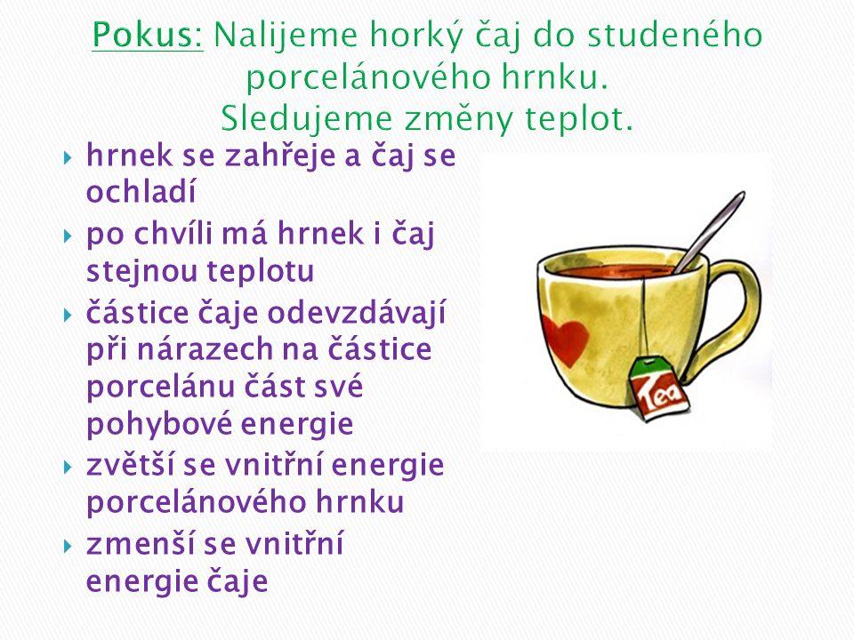  hrnek se zahřeje a čaj se ochladí  po chvíli má hrnek i čaj stejnou teplotu  částice čaje odevzdávají při nárazech na částice porcelánu část své p