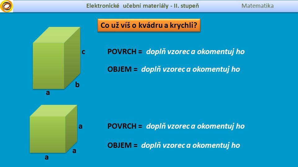 Elektronické učební materiály - II. stupeň Matematika a Co už víš o kvádru a krychli.