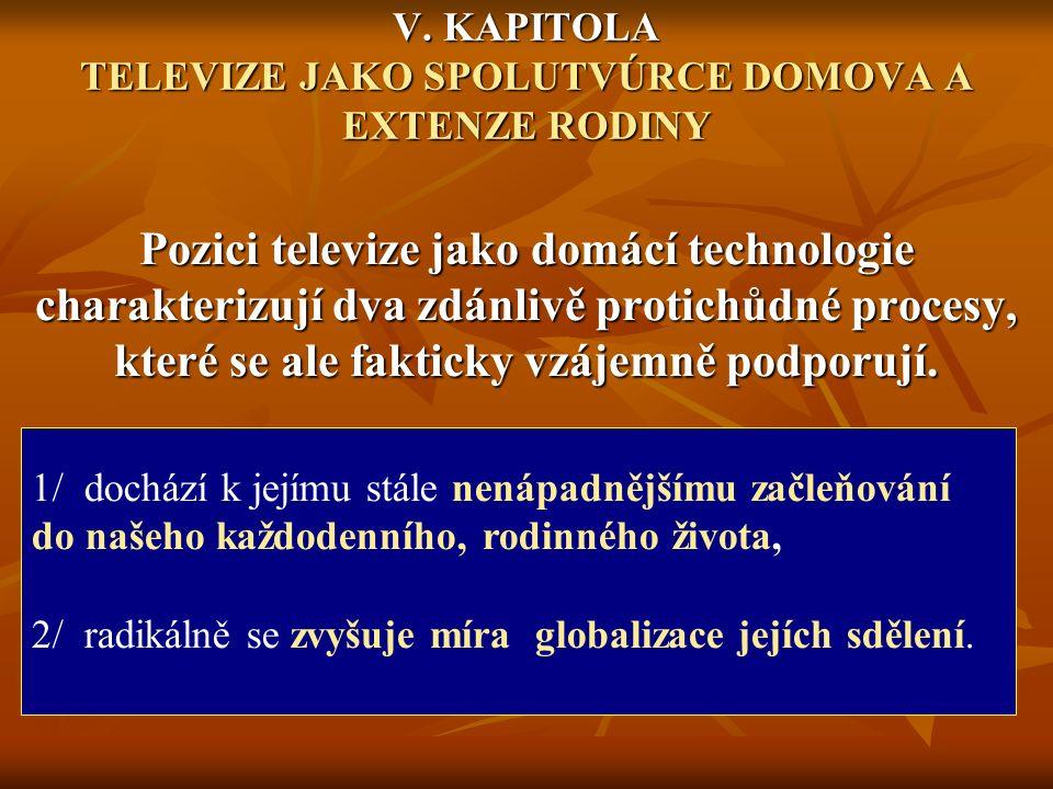 V. KAPITOLA TELEVIZE JAKO SPOLUTVÚRCE DOMOVA A EXTENZE RODINY Pozici televize jako domácí technologie charakterizují dva zdánlivě protichůdné procesy,