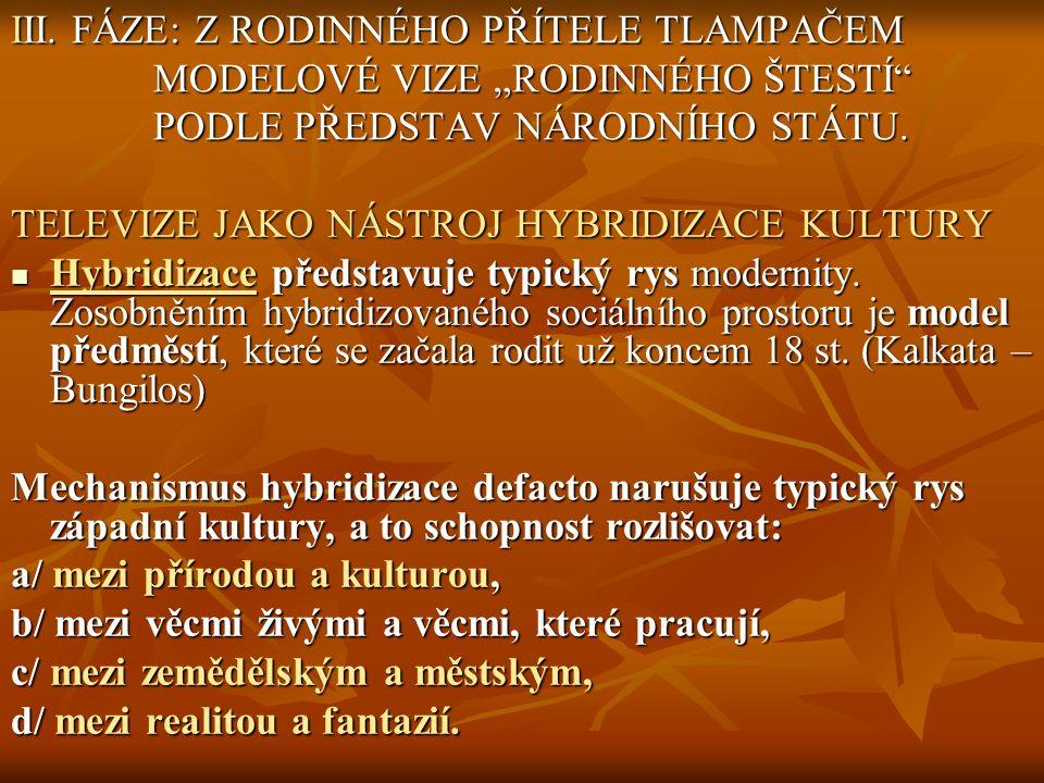 """III. FÁZE: Z RODINNÉHO PŘÍTELE TLAMPAČEM MODELOVÉ VIZE """"RODINNÉHO ŠTESTÍ"""" PODLE PŘEDSTAV NÁRODNÍHO STÁTU. TELEVIZE JAKO NÁSTROJ HYBRIDIZACE KULTURY Hy"""