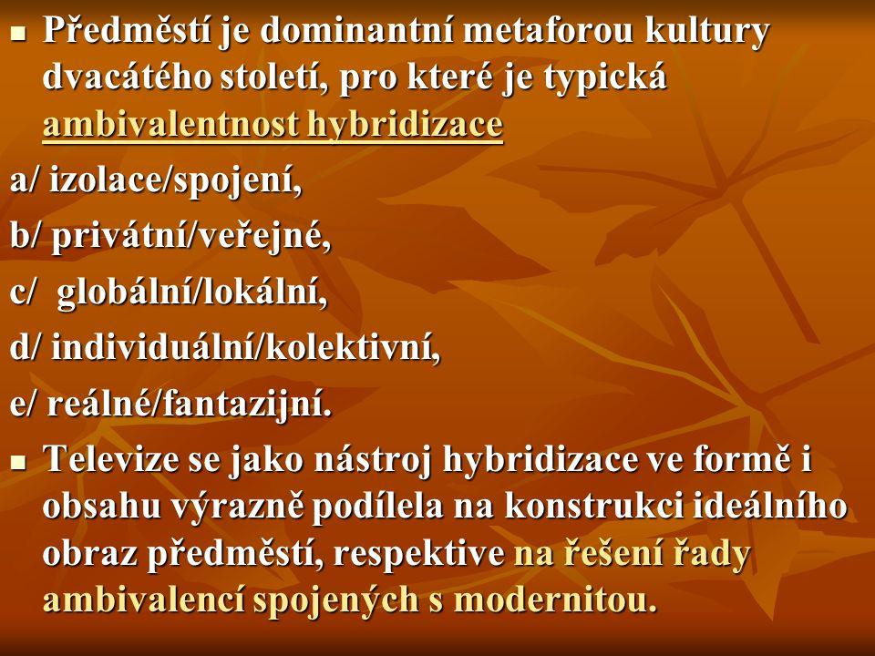 Předměstí je dominantní metaforou kultury dvacátého století, pro které je typická ambivalentnost hybridizace Předměstí je dominantní metaforou kultury dvacátého století, pro které je typická ambivalentnost hybridizace a/ izolace/spojení, b/ privátní/veřejné, c/ globální/lokální, d/ individuální/kolektivní, e/ reálné/fantazijní.