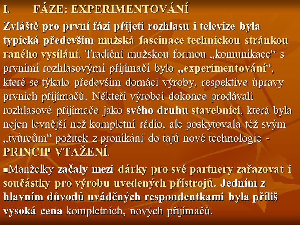 I.FÁZE: EXPERIMENTOVÁNÍ Zvláště pro první fázi přijetí rozhlasu i televize byla typická především mužská fascinace technickou stránkou raného vysílání.
