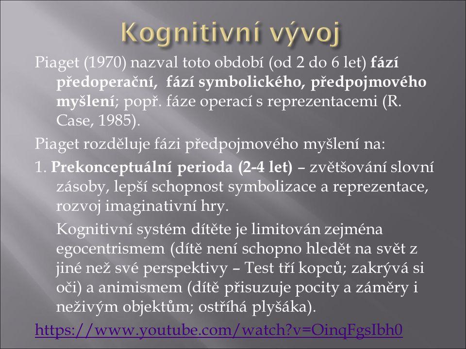 Piaget (1970) nazval toto období (od 2 do 6 let) fází předoperační, fází symbolického, předpojmového myšlení ; popř.