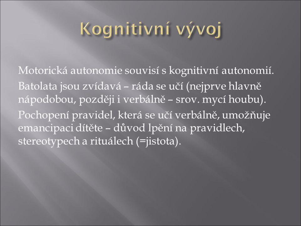 Motorická autonomie souvisí s kognitivní autonomií.