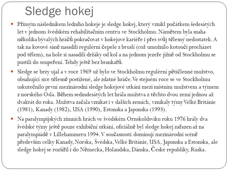 Sledge hokej P ř ímým následníkem ledního hokeje je sledge hokej, který vznikl po č átkem šedesátých let v jednom švédském rehabilita č ním centru ve Stockholmu.
