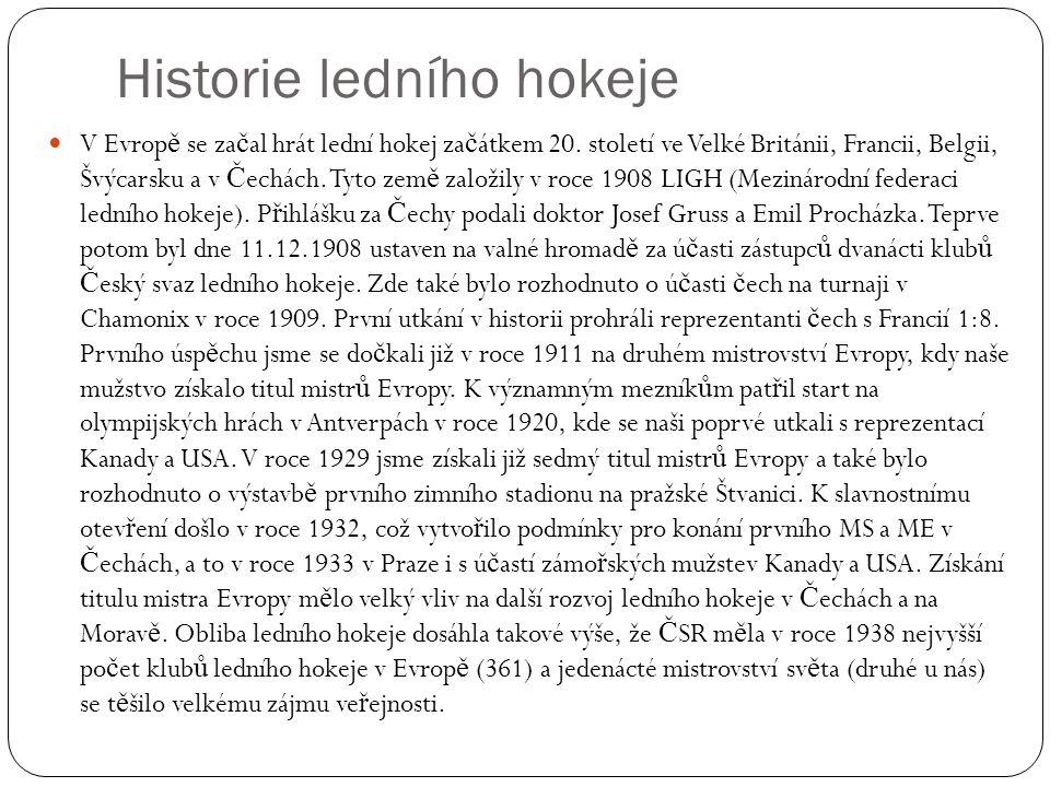 Historie ledního hokeje V Evrop ě se za č al hrát lední hokej za č átkem 20. století ve Velké Británii, Francii, Belgii, Švýcarsku a v Č echách. Tyto