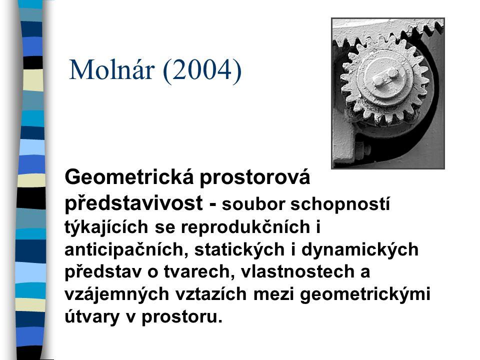 Molnár (2004) Geometrická prostorová představivost - soubor schopností týkajících se reprodukčních i anticipačních, statických i dynamických představ o tvarech, vlastnostech a vzájemných vztazích mezi geometrickými útvary v prostoru.