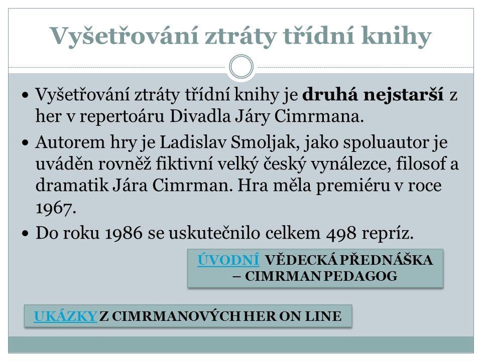 Vyšetřování ztráty třídní knihy Vyšetřování ztráty třídní knihy je druhá nejstarší z her v repertoáru Divadla Járy Cimrmana.
