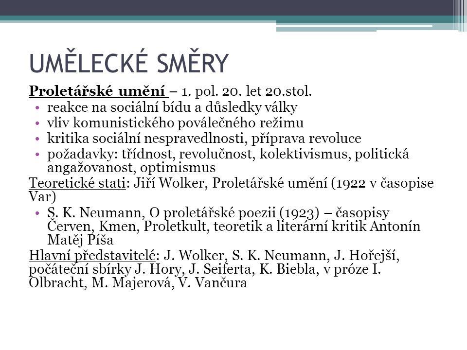 UMĚLECKÉ SMĚRY Poetismus – 2.pol. 20.let 20. stol.