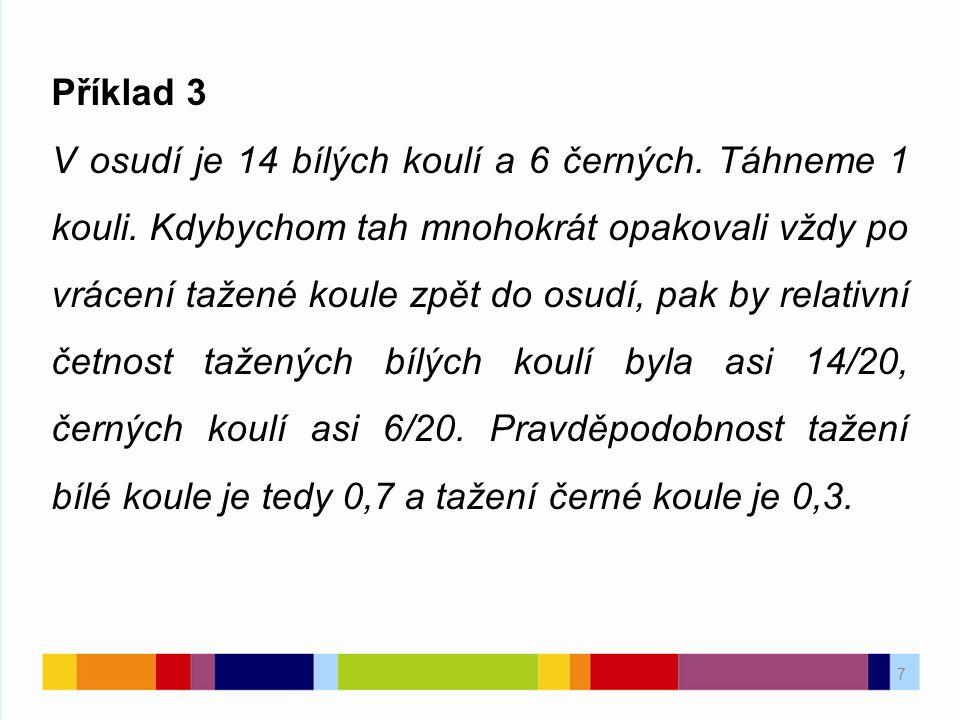 7 Příklad 3 V osudí je 14 bílých koulí a 6 černých.