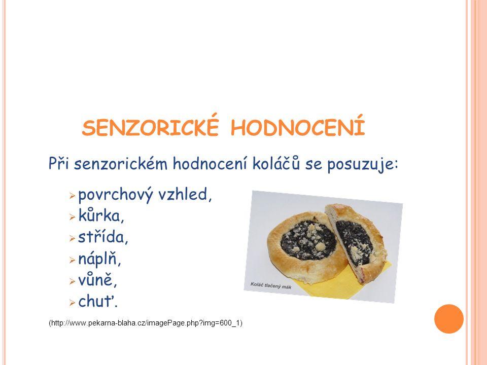 SENZORICKÉ HODNOCENÍ Při senzorickém hodnocení koláčů se posuzuje:  povrchový vzhled,  kůrka,  střída,  náplň,  vůně,  chuť.