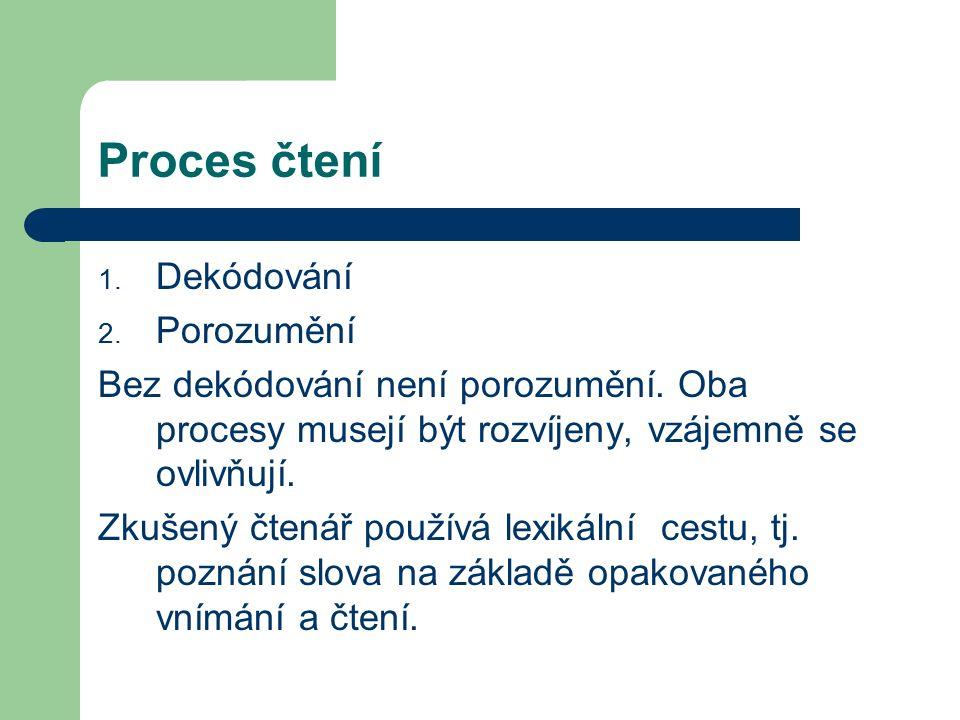 Proces čtení 1. Dekódování 2. Porozumění Bez dekódování není porozumění.