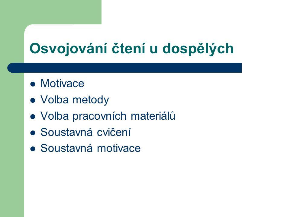Osvojování čtení u dospělých Motivace Volba metody Volba pracovních materiálů Soustavná cvičení Soustavná motivace