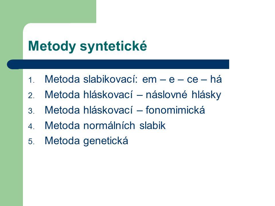 Metody syntetické 1. Metoda slabikovací: em – e – ce – há 2.
