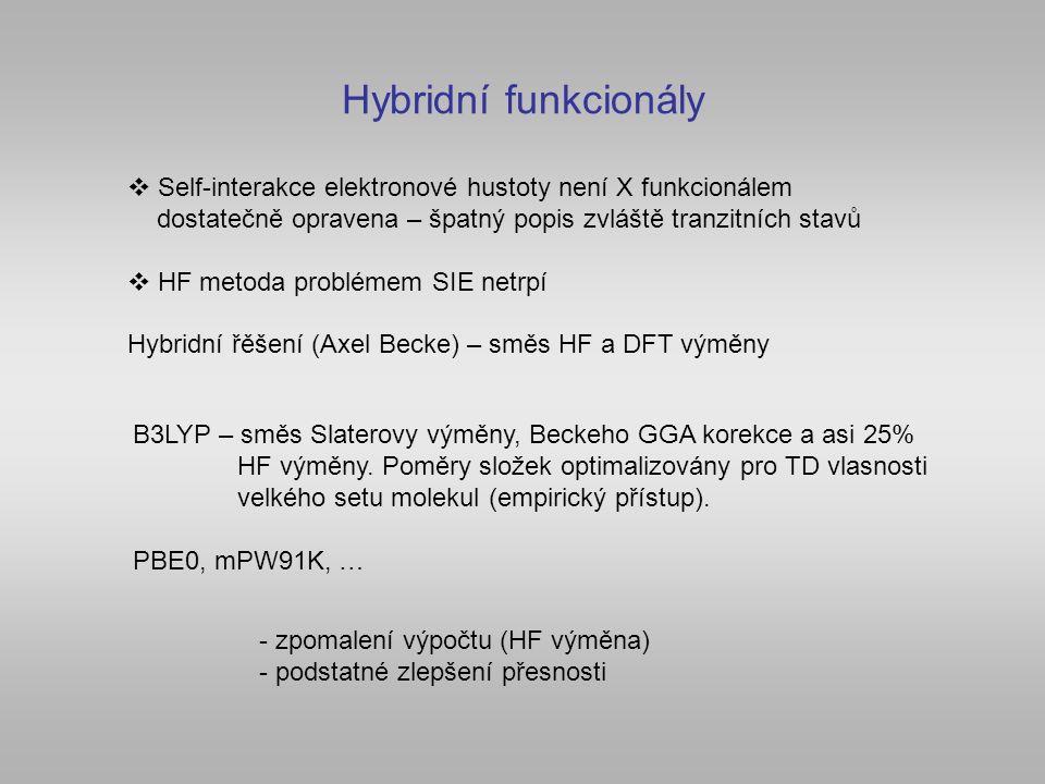 Hybridní funkcionály  Self-interakce elektronové hustoty není X funkcionálem dostatečně opravena – špatný popis zvláště tranzitních stavů  HF metoda problémem SIE netrpí Hybridní řěšení (Axel Becke) – směs HF a DFT výměny B3LYP – směs Slaterovy výměny, Beckeho GGA korekce a asi 25% HF výměny.