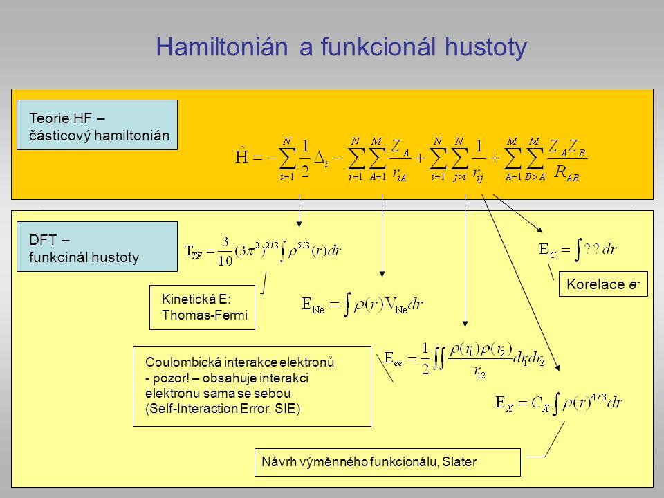 Hamiltonián a funkcionál hustoty Teorie HF – částicový hamiltonián DFT – funkcinál hustoty Kinetická E: Thomas-Fermi Coulombická interakce elektronů -