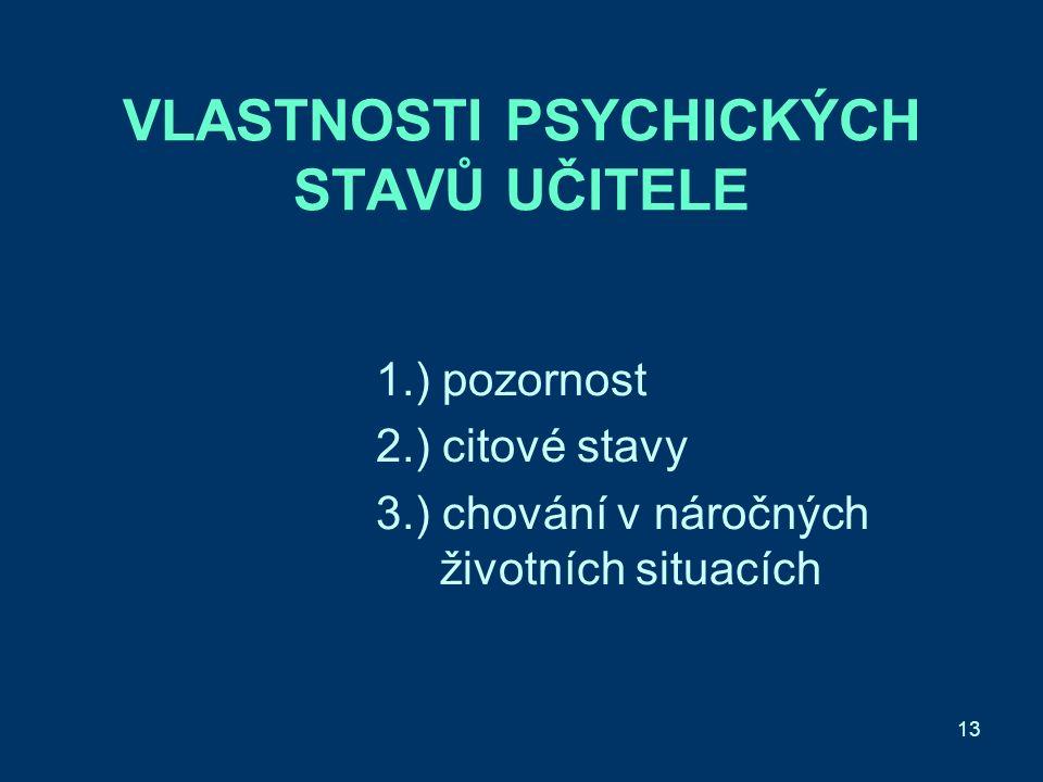 13 VLASTNOSTI PSYCHICKÝCH STAVŮ UČITELE 1.) pozornost 2.) citové stavy 3.) chování v náročných životních situacích