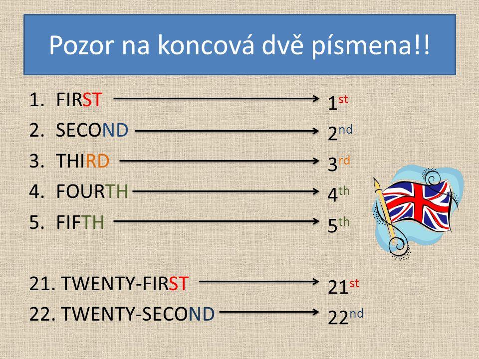Pozor na koncová dvě písmena!! 1.FIRST 2.SECOND 3.THIRD 4.FOURTH 5.FIFTH 21. TWENTY-FIRST 22. TWENTY-SECOND 1 st 2 nd 3 rd 4 th 5 th 21 st 22 nd