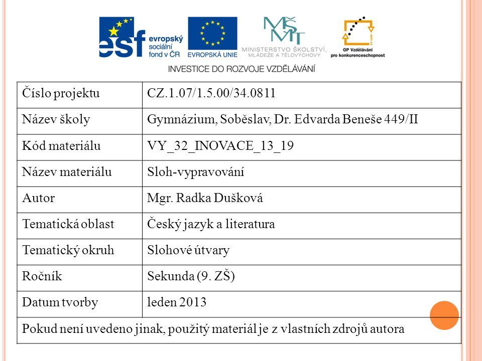 Číslo projektuCZ.1.07/1.5.00/34.0811 Název školyGymnázium, Soběslav, Dr. Edvarda Beneše 449/II Kód materiáluVY_32_INOVACE_13_19 Název materiáluSloh-vy