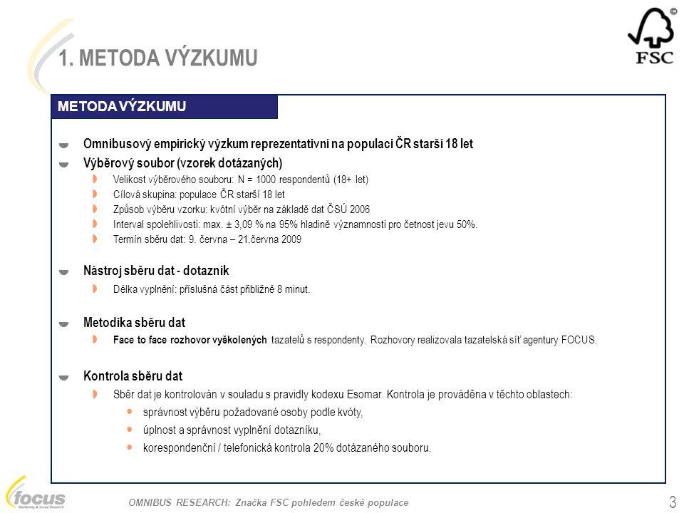 OMNIBUS RESEARCH: Značka FSC pohledem české populace 1. METODA VÝZKUMU  Omnibusový empirický výzkum reprezentativní na populaci ČR starší 18 let  Vý
