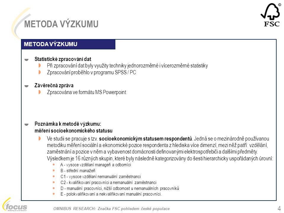 OMNIBUS RESEARCH: Značka FSC pohledem české populace METODA VÝZKUMU  Statistické zpracování dat  Při zpracování dat byly využity techniky jednorozměrné i vícerozměrné statistiky  Zpracování proběhlo v programu SPSS / PC  Závěrečná zpráva  Zpracována ve formátu MS Powerpoint  Poznámka k metodě výzkumu: měření socioekonomického statusu  Ve studii se pracuje s tzv.
