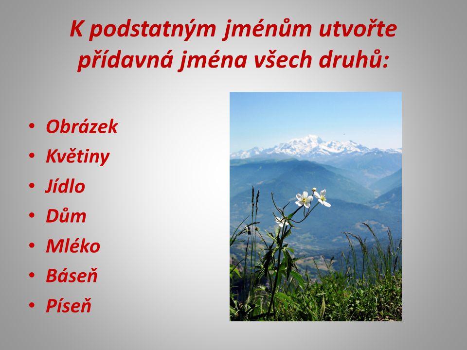 K podstatným jménům utvořte přídavná jména všech druhů: Obrázek Květiny Jídlo Dům Mléko Báseň Píseň